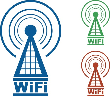 WiFi tower with radio waves in three colors.  Vector
