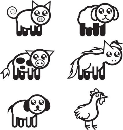 Set of black and white farm animal outlines   イラスト・ベクター素材