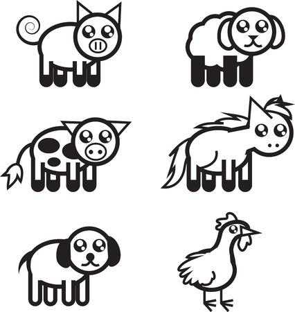 Set of black and white farm animal outlines  矢量图像