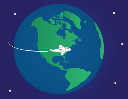 circling: Plane flying around the planet earth