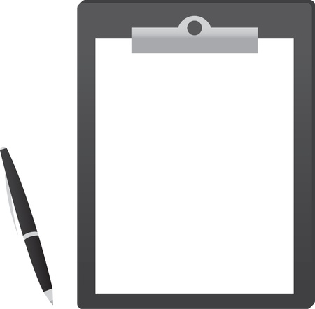 Clipboard with paper and pen  Stock Vector - 11785776