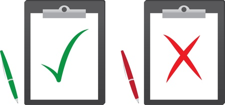 Klembord met groene vinkje en rode x