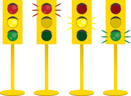 Traffic lights lit up.  Green, yellow and red.