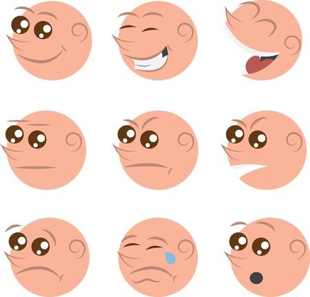 ojos llorando: Caras aislados con diferentes emociones