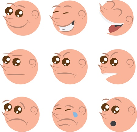 bald cartoon: Isolated faces with different emotions