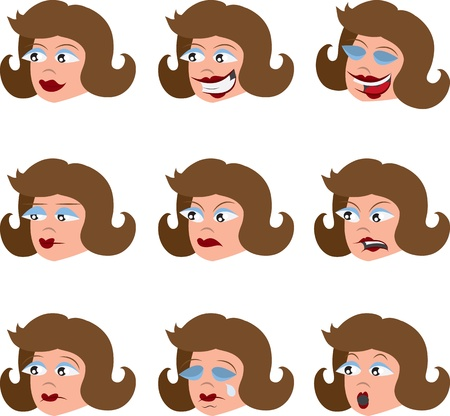 closed mouth: Womans face isolated with different emotions  Illustration