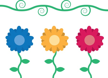 Three flowers with vine and leaves  Stock Vector - 11866179