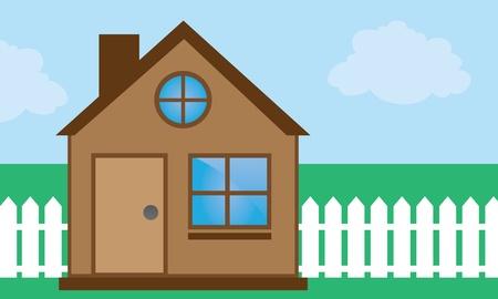 Home with windows and sky background  Ilustração