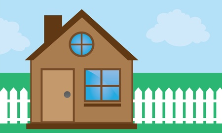 shingles: Home with windows and sky background  Illustration