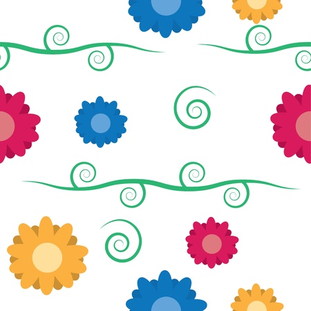 Seamless pattern of flowers with vine and leaves repeating  Vettoriali