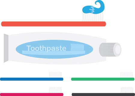 toothpaste tube: Various Toothbrushes and toothpaste tube