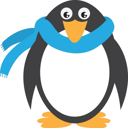 Penguin with scarf isolated