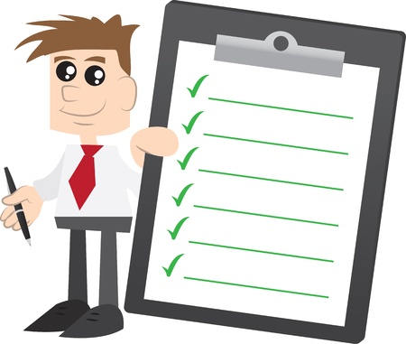 Isolated businessman with tie holding a clipboard with green check marks