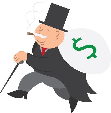cigar smoking man: Hombre aislado se ejecuta con bolsa de dinero