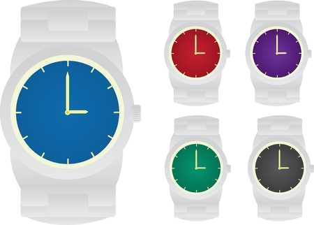 Isolated watches.  5 different colored faces.  向量圖像