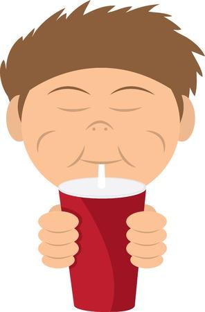 gaseosas: Ni�o bebiendo un refresco o batido de la paja