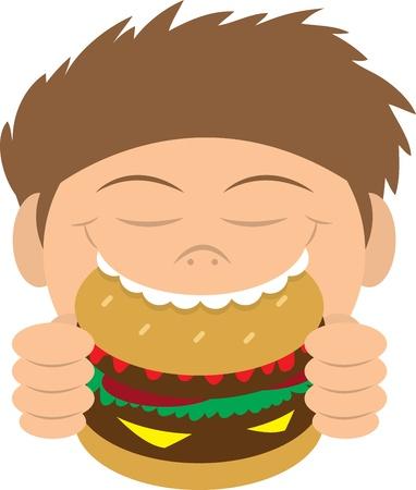 Boy biting into a hamburger  Ilustração