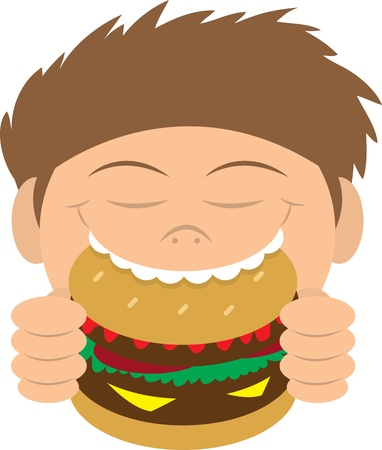 delighted: Boy biting into a hamburger  Illustration