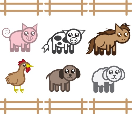 dog pen: Set of farm animals in a fence