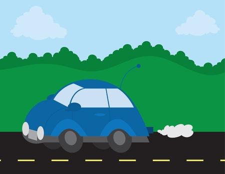 Buiten scène met auto op de weg