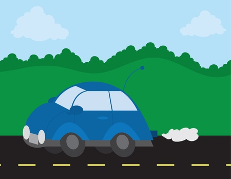 Outside scene with car on the road Stock Vector - 11945369