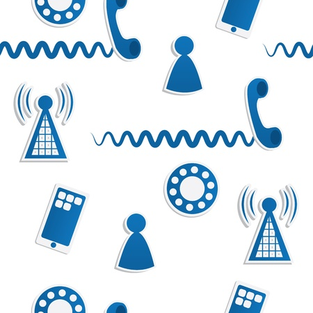 Seamless pattern of phone icons and symbols