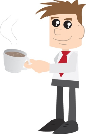 Man drinking from a mug  Vector