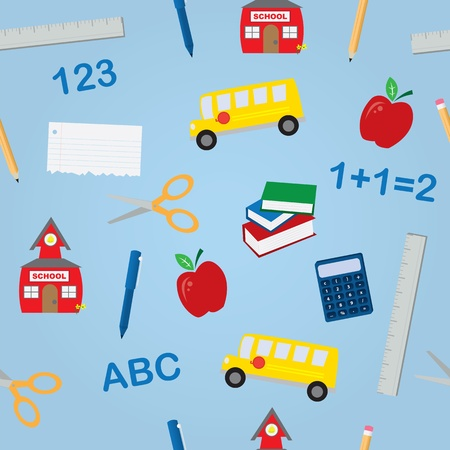 scissors icon: Various school objects in a seamless pattern