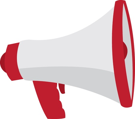 loudspeaker: Red and grey megaphone isolated