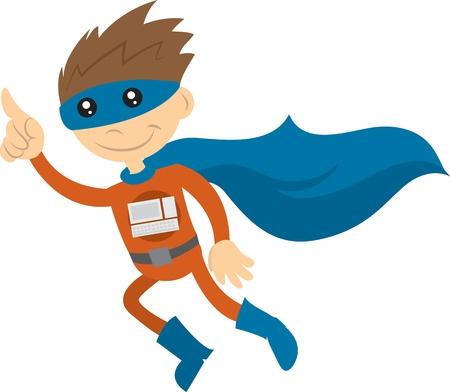 Tech superheld met cape vliegen door de lucht Stock Illustratie