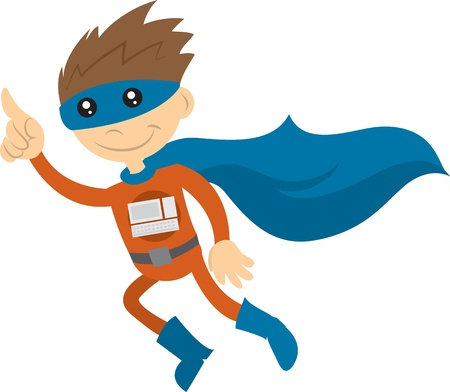 Tech superhero with cape flying through the air