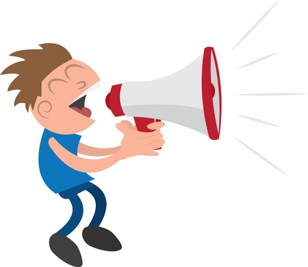 Guy yelling or screaming into a megaphone   Vector