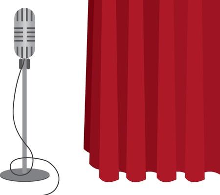 Grey microfoon op een statief met rood gordijn