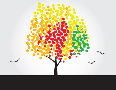 the color of silence: Multicolored tree with dotted leaves  Illustration