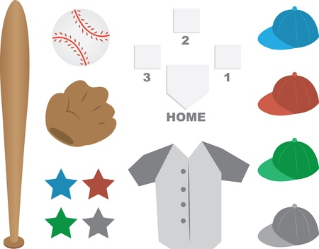 bases: Baseball equipment and supplies isolated
