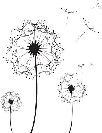 Three dandelion flowers blowing in the wind  Ilustração