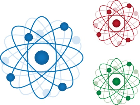 electrons: Isolated atom icons in three colors.  Blue, Red and Green.  Illustration