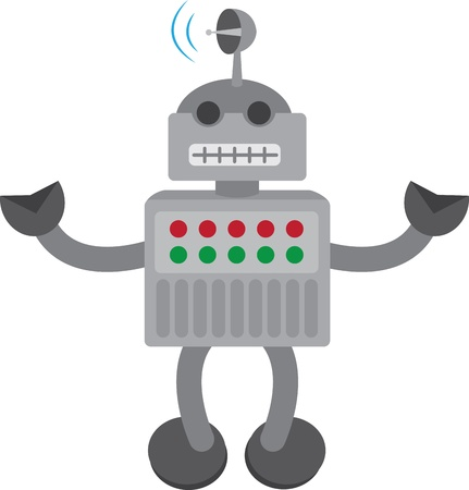 Isolated robot with arms up and antenna on head Stock Vector - 12026636