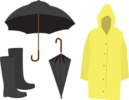 Isolated Rain Equipment including raincoat, umbrella and boots