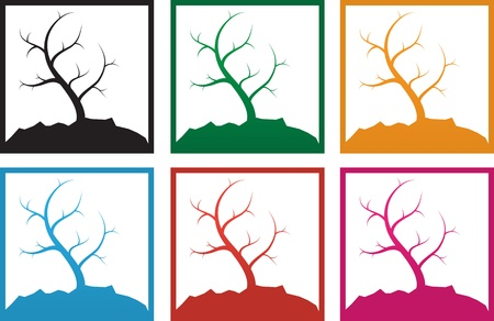 Multicolored trees with curved branches  Stock Vector - 12044572