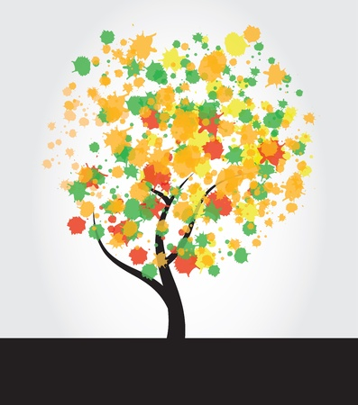 Multicolored tree with ink splatter leaves  Vettoriali