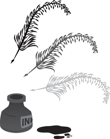 ink pen: Feather quill with ink bottle