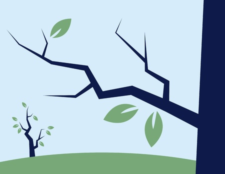 fall about: Branch with a few leaves about to fall  Illustration