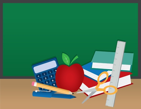 School supplies in front of a chalkboard  Vector