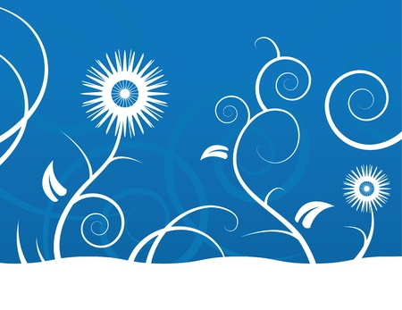 snow field: Abstract blue and white flower background  Illustration