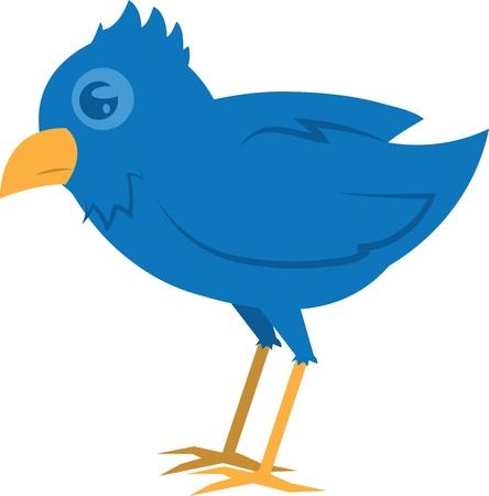 Isolated blue bird standing  Illustration