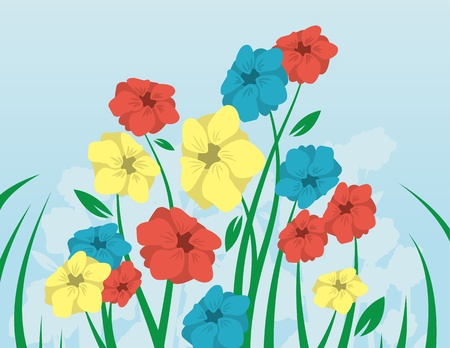grass blades: Flowers with long stems coming up from the grass  Illustration