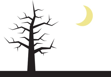 tree isolated: Tree with bare branches and crescent moon