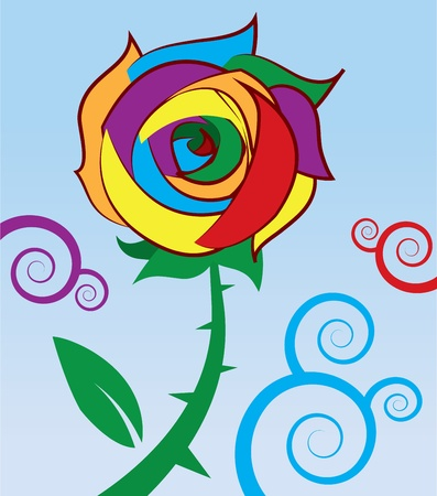 Rose with rainbow colored petals  Vector