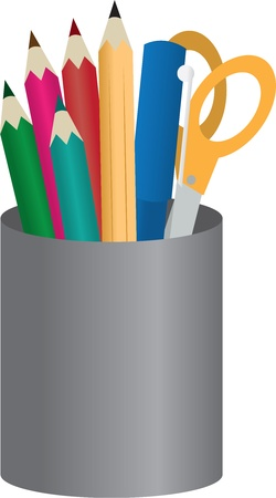 Container with colored pencils, pens and scissors Stock Vector - 12174502